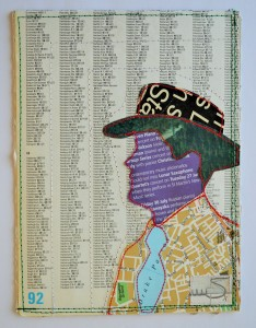 634. The hat is made from a 1980's magazine. The face is made from a leaflet from St. Martin-in-the-Fields, London. The tie, jacket and background are all parts of a worn-out atlas. The jacket shows a map of Dundee.