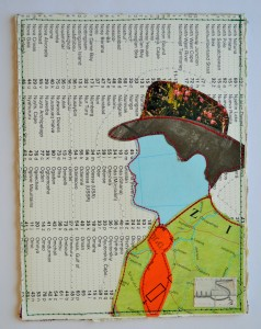 635. The hat is made from a 1980's magazine. The face, jacket and background are all parts of a worn-out atlas. The jacket shows a map of Brazil. The tie is made from a postal label, kindly given to me by my old Postie, you can see part of the word 'Dulwich'.