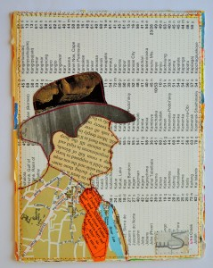 636. The hat and tie are made from a 1980's German magazine. The jacket and background are parts of a worn-out atlas. The jacket shows a map of Cork.