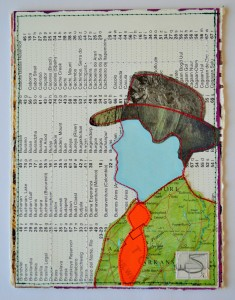 638. The hat is made from a 1980's magazine. The face, jacket and background are all parts of a worn-out atlas. The jacket shows a map of Arkansas and Missouri. The tie is made from a postal label, kindly given to me by my old Postie, you can see part of the word 'Dulwich'.