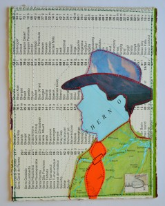 639.  The hat is made from a 1980's magazine. The face, jacket and background are all parts of a worn-out atlas. The jacket shows a map of Brazil. The tie is made from a postal label, kindly given to me by my old Postie, you can see part of the word 'Dulwich'.