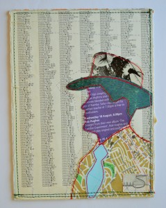 640. The hat is made from a 1980's magazine. The face is made from a leaflet from St. Martin-in-the-Fields, London. The tie, jacket and background are all parts of a worn-out atlas. The jacket shows a map of Swansea.