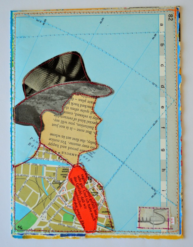The hat and tie are made from a 1980's magazine. The jacket and background are parts of a worn-out atlas. The jacket shows a map of Dublin.