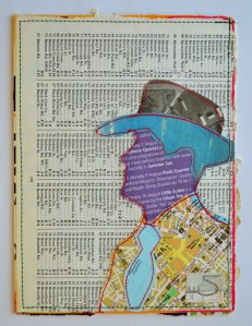 642. The hat is made from a 1980's magazine. The face is made from a leaflet from St. Martin-in-the-Fields, London. The tie, jacket and background are all parts of a worn-out atlas. The jacket shows a map of Belfast.