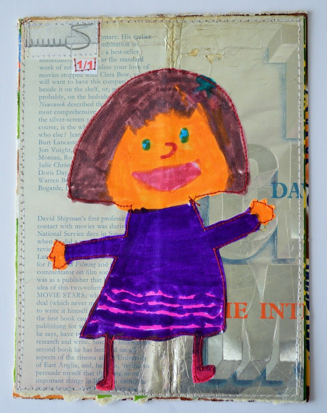 722.  Made from the dust-jacket of a 1972 copy of The Great Movie Stars: The International Years by David Shipman (Angus and Robertson), and a self-portrait by my daughter (wearing her favourite dress).