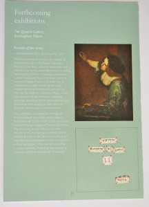 Page taken from What's On, March-October 2016. Royal Collections Trust. Design by Sally McIntosh. The self-portrait shown in the image is by Artemisia Gentileschi.